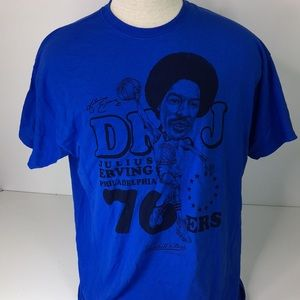 Mitchell & Ness 76ers Julius Erving T-shirt Blue